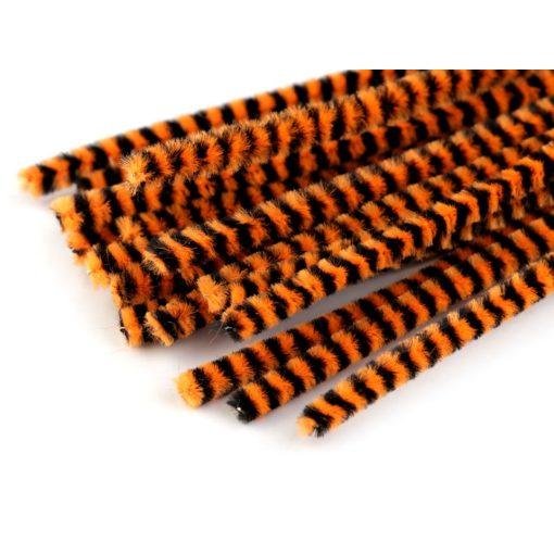 Narancs-fekete csíkos zsenília drót