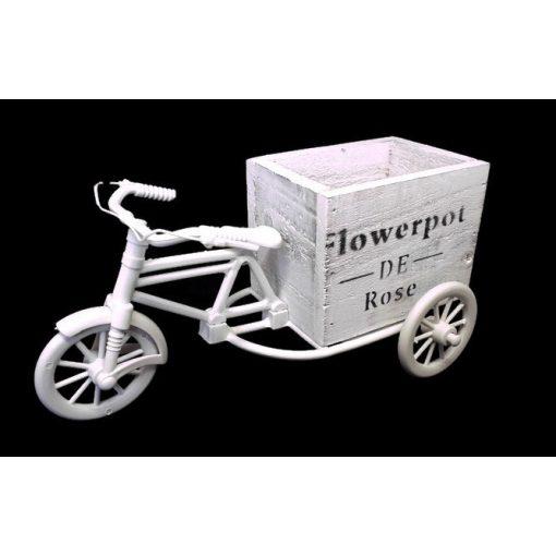 Műanyag tricikli (bicikli) kocka alakú fa kaspóval